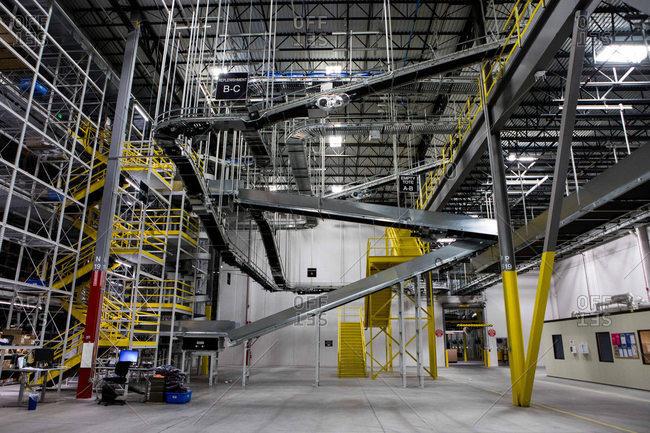 Hazelton, Pennsylvania - January 6, 2017: Interior of an industrial distribution center