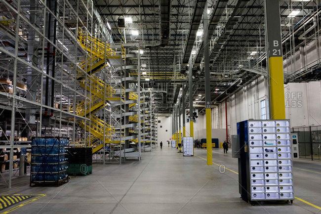 Hazelton, Pennsylvania - January 6, 2017: Interior of industrial distribution center
