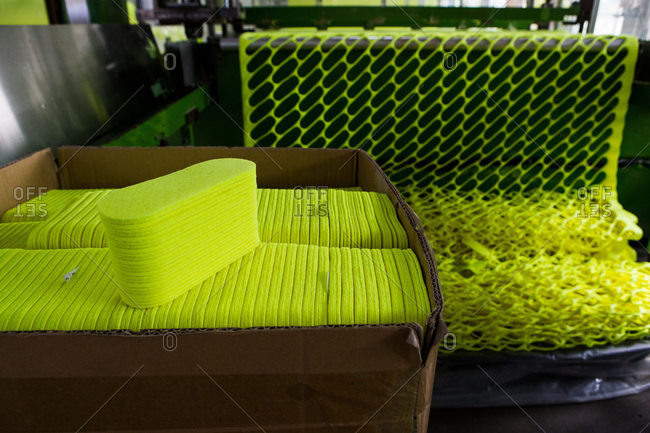 Box of tennis ball felt coverings
