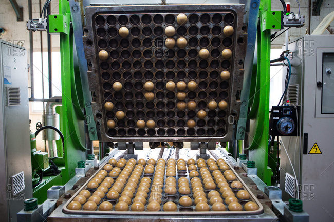 Nakhon Pathom, Thailand - August 18, 2016: Tennis ball cores in machine