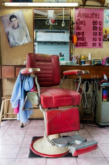 Bangkok, Thailand - July 24, 2016: Chair in a local barber shop