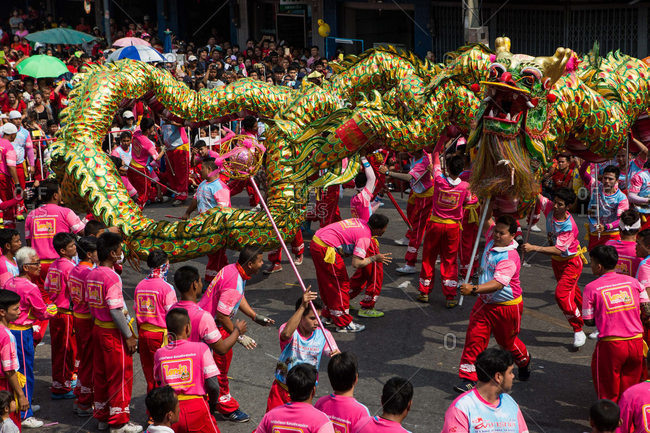 Nakhon Swan, Thailand - February 11, 2016: A Chinese New Year parade