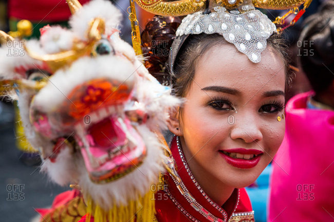 Nakhon Swan, Thailand - February 11, 2016: Woman in costume for Chinese new year