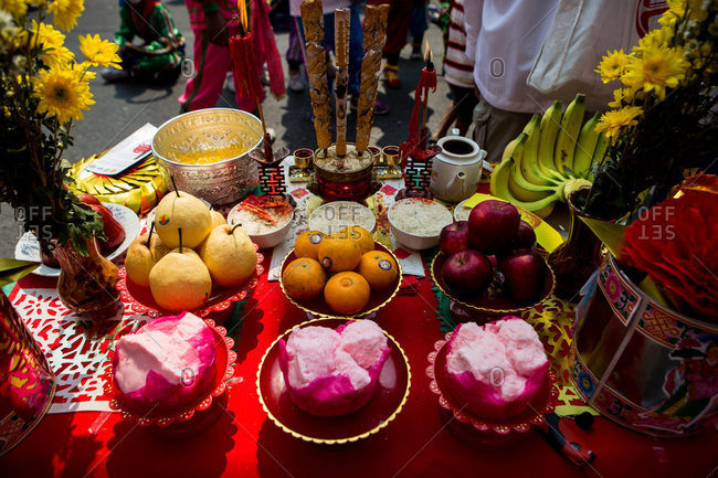 Nakhon Swan, Thailand - February 11, 2016: Offerings for a Chinese New Year parade