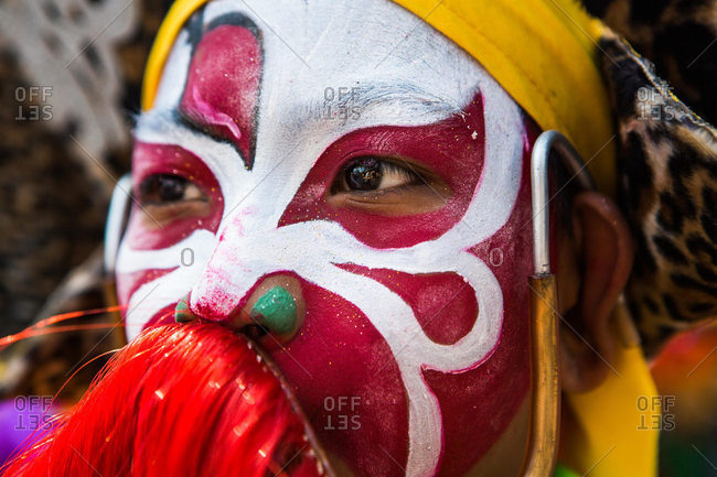 Nakhon Swan, Thailand - February 11, 2016: Portrait of performer in Chinese New Year parade