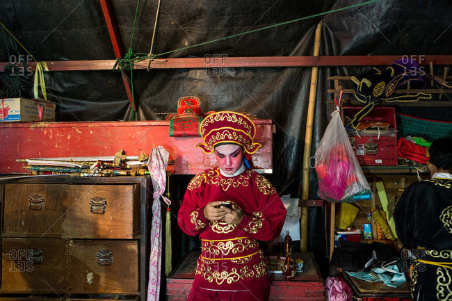 Nakhon Swan, Thailand - February 10, 2016: Performer of Chinese theater company backstage