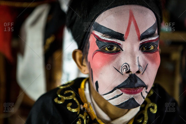 Nakhon Swan, Thailand - February 10, 2016: Portrait of Chinese theater performer