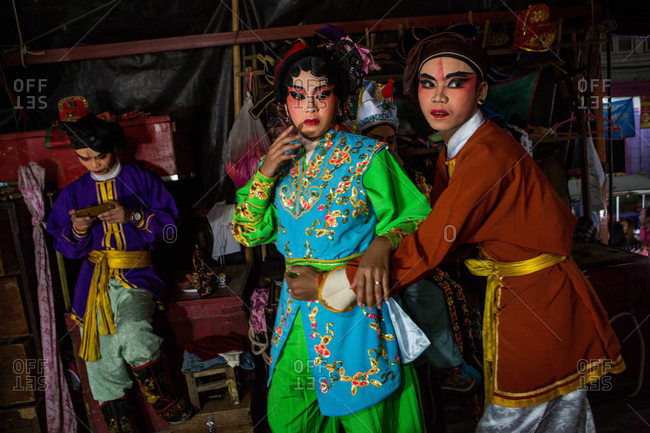 Nakhon Swan, Thailand - February 10, 2016: Traveling Chinese theater performers backstage