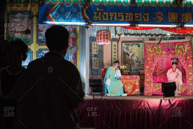 Nakhon Swan, Thailand - February 10, 2016: People watching traveling Chinese theater company