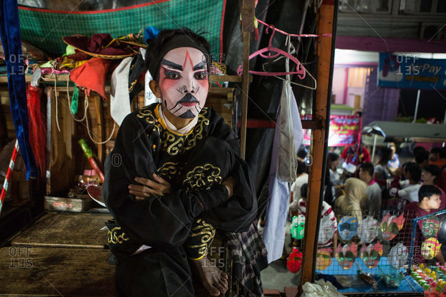 Nakhon Swan, Thailand - February 10, 2016: Chinese theater performer in costume
