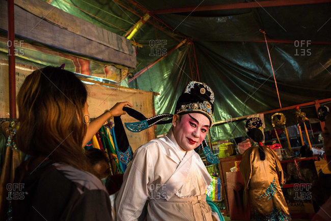 Nakhon Swan, Thailand - February 10, 2016: Theater performers backstage getting ready