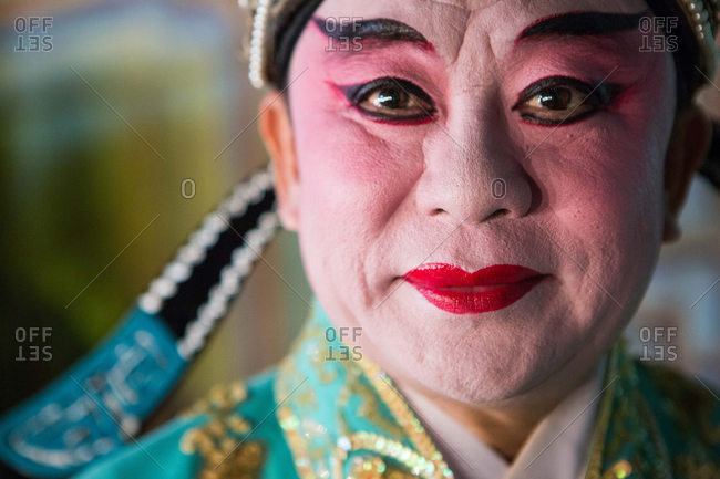 Nakhon Swan, Thailand - February 10, 2016: Performer from traveling theater company