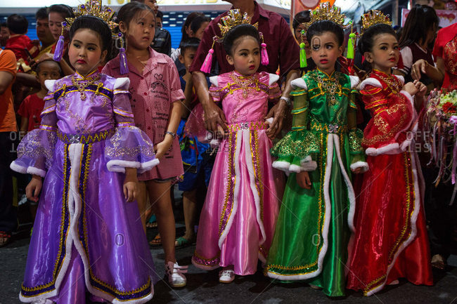 Nakhon Swan, Thailand - February 10, 2016: Girls dressed up for Chinese New Year