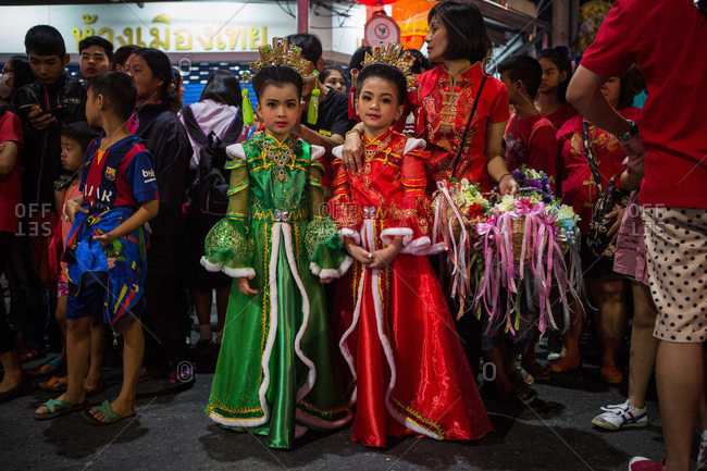 Nakhon Swan, Thailand - February 10, 2016: Girls dress up for the Chinese New Year