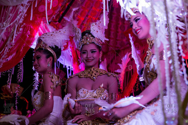 Nakhon Swan, Thailand - February 10, 2016: Women on a float during a parade