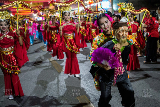 Nakhon Swan, Thailand - February 10, 2016: Chinese New Year parade at night