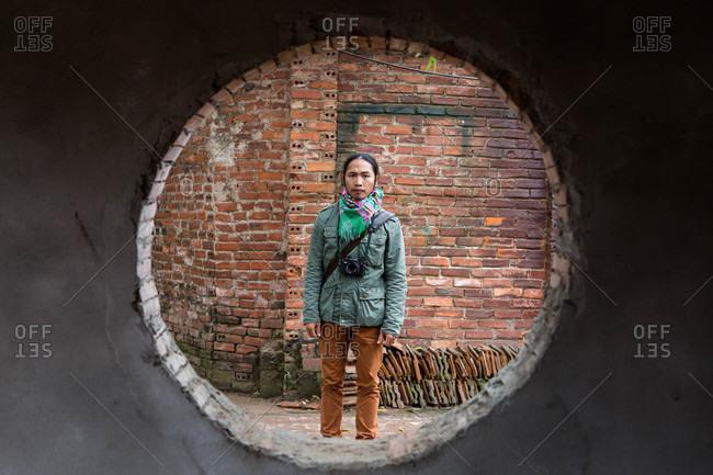 Hanoi, Vietnam - December 30, 2015: A local photographer in Hanoi, Vietnam