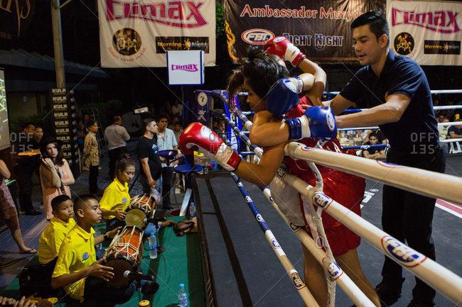 Thailand - May 13, 2016: Muay Thai fight in Bangkok, Thailand