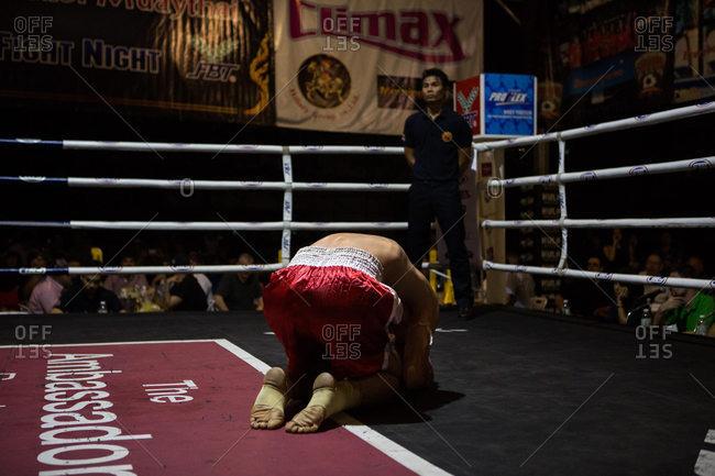 Thailand - May 13, 2016: Opening ritual of a Muay Thai fight, Bangkok, Thailand