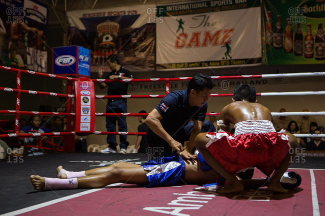 Thailand - May 13, 2016: Checking a Muay Thai fighter on ground