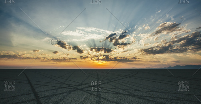 Tire tracks leading to the horizon in a desert landscape at dusk.