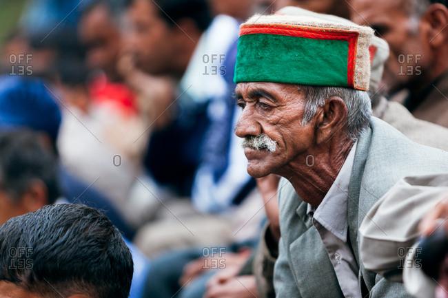 October 4, 2009 - Shimla, India: Portrait of man at rural festival of open Indian wrestling