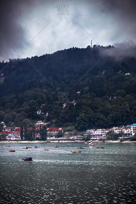 June 9, 2013 - Nainital, Uttarakhand, India: People enjoying scenic boat rides on lake