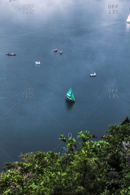 June 10, 2013 - Nainital, Uttarakhand, India: Overlooking boats on Lake Kumaon