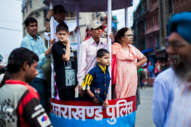 June 9, 2013 - Nainital, Uttarakhand, India: Family of tourists visiting the town at Kumaon