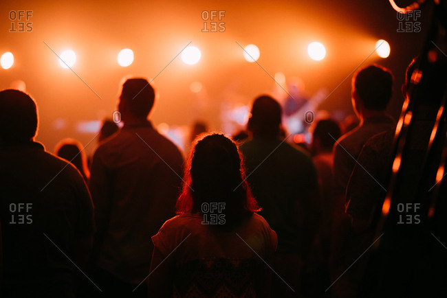 Back view of spectators attending a concert