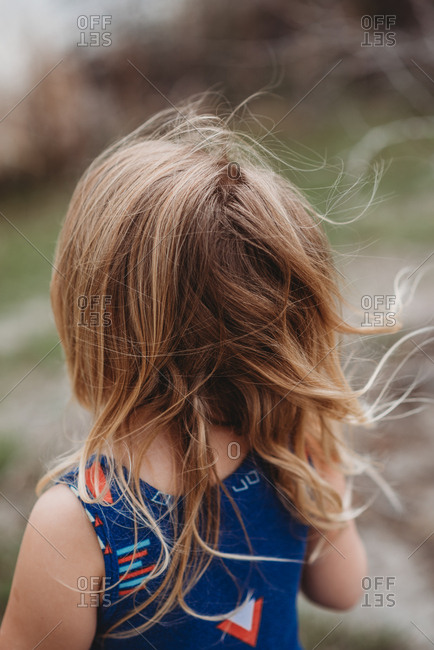 Back view of young girl's hair blowing in wind