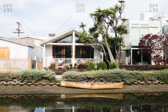 Santa Monica, California - January 11, 2017: Houses by a canal in California