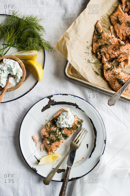 Salmon with herb sauce topping
