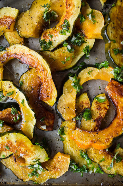 Baked squash slices in close up