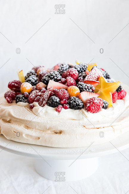 Pavlova with a fruit topping