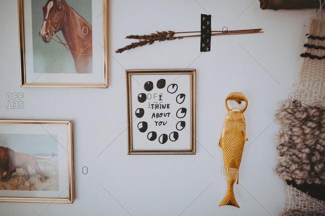 Mounted art on home wall