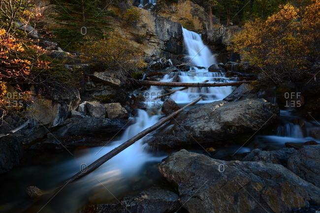 Scenic view of Tangle Falls in Alberta, Canada.