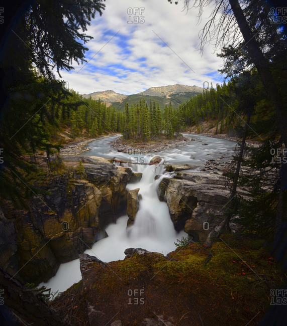 View of Athabasca Falls in Alberta, Canada.