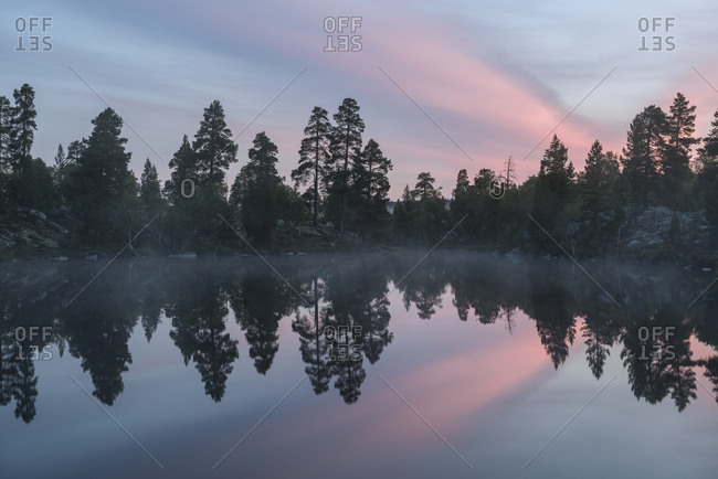 A pink sunrise casts the forest's reflection on to a glassy lake.