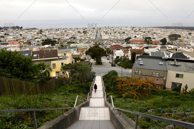 San Francisco, California, USA - April 11, 2016: The 16th Avenue Tiled Steps in San Francisco, California, USA.