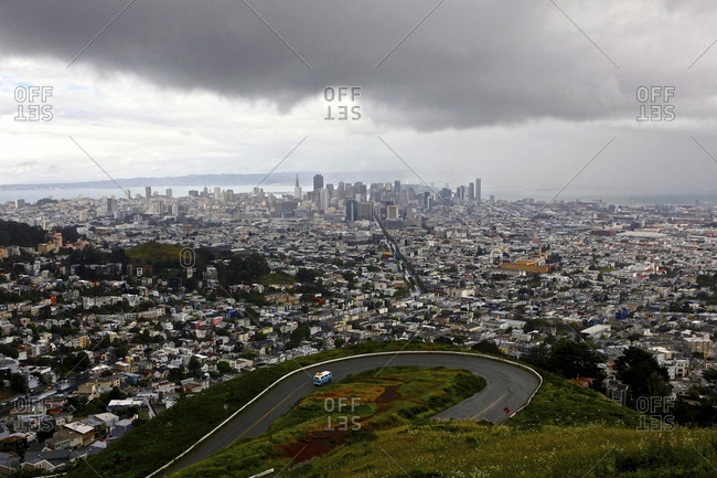 View of a storm approaching San Francisco from the top of Twin Peaks.