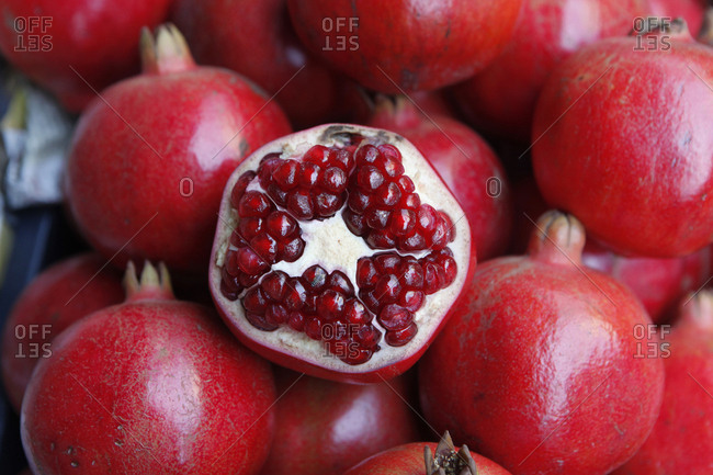 Close up of Pomegranates for sale at a local market in Mumbai.