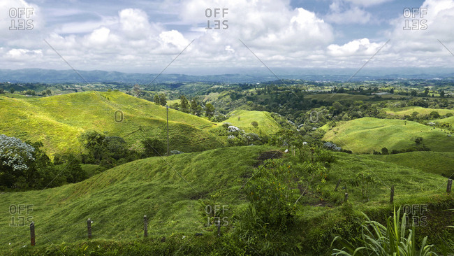 Scenic view of mountain valley in Filandia, Colombia.