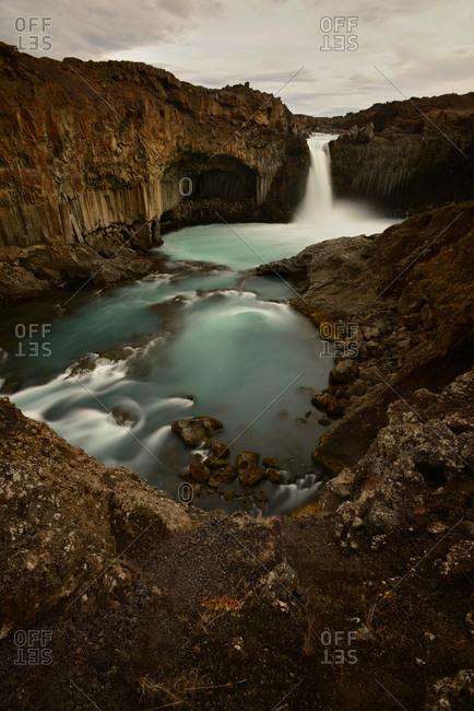 Scenic view of Aldeyjarfoss waterfalls in Iceland.