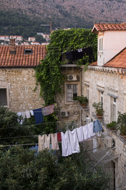 Laundry hanging from clothesline in Dubrovnik, Croatia.