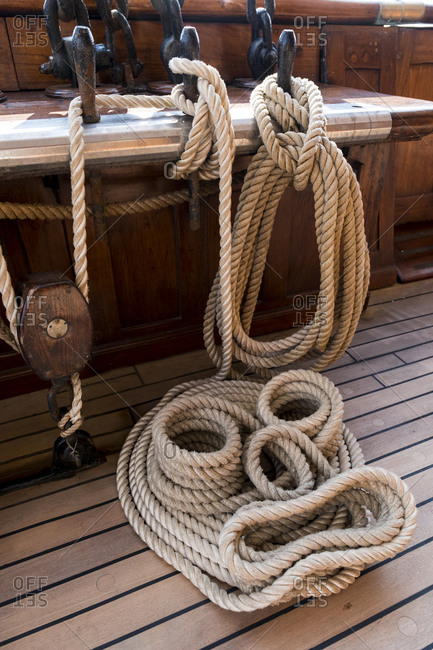 Rope lines are secured in an orderly and occasionally decorative fashion.