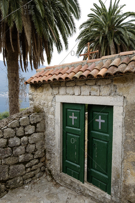 Doorway to a church in the town of Perast on the Bay of Kotor.