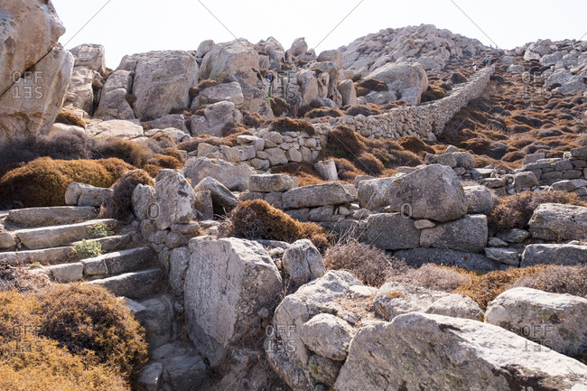 The stone stairway to the Sanctuary of Zeus and Athena at the archaeological site of Delos.