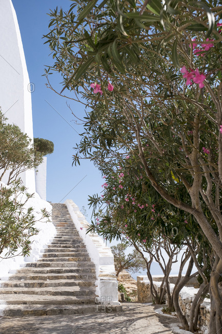 The steps and staircases of the Monastery of Hozoviotissa in Amorgos.