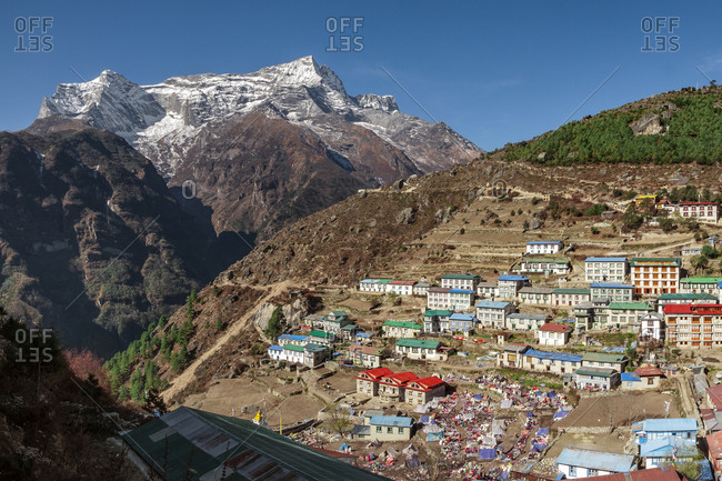 Namche Bazaar in the Khumbu region of Nepal.